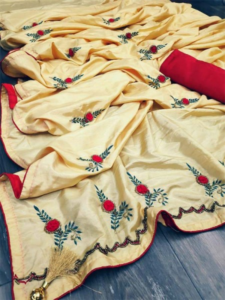 Graceful combination for Wedding Look Cream Sana Silk Saree hand work with piping