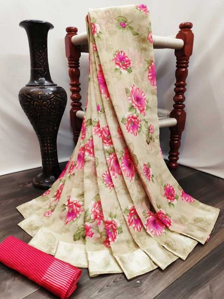 New Trending Multi  Color Cotton Satin Patta Saree