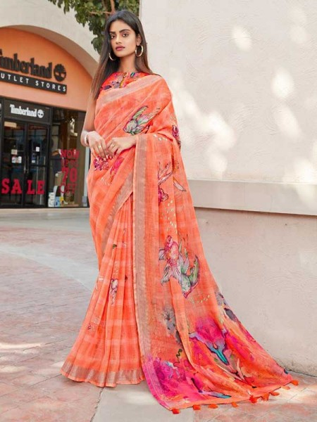 Stunning Multi Color Pure Lilen With Silent Silver Border Saree
