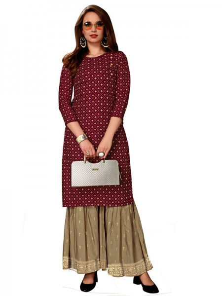 Trending Maroon Colour Heavy Foil Print Top with Matching Sharara