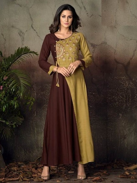 Brown Color Heavy Rayon Long Kurti with Embroidery Work