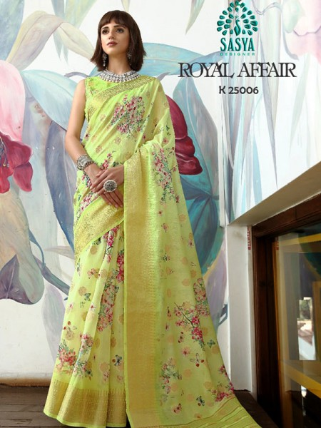 Stunning Look Pista Color Pure Cotton Printed Saree with Jacquard weaving Border