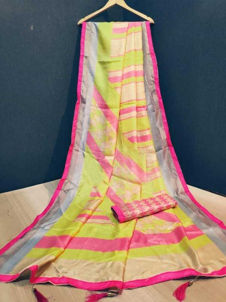 Stunning Multi Color Linen Silk With Lace border And Printed  Blouse Saree