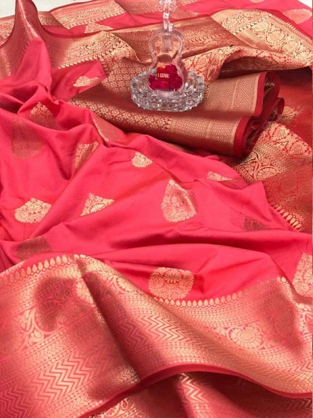 Special Edition Pink Color Soft Silk gold Zari with weaving design border