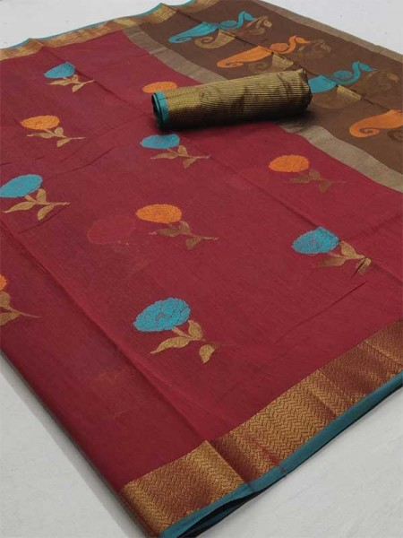Beautiful Maroon Color Linen Fabric Saree