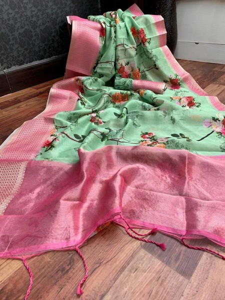 Stunning Green Color Handloom Linen Saree With Digital Printed With Rich Zari Wooven Pallu