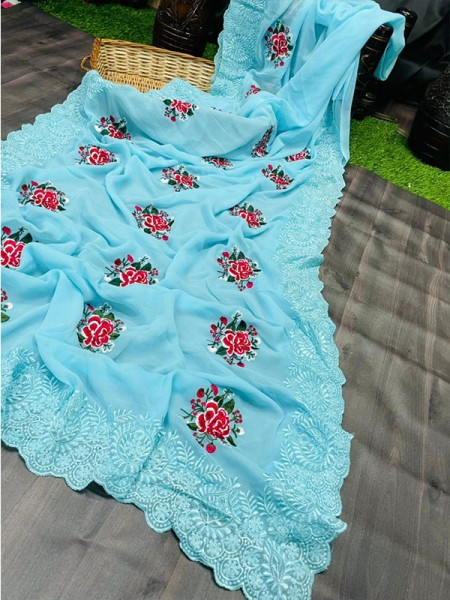 Floral Style Pure Georgette Silk Saree with beautiful flowers work