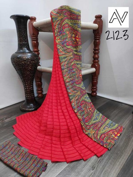 Eye-Catching Look Pink color Viscose Lining GeorgettePrinted Saree