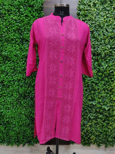 Pink color Heavy Rayon Kurti With Same Color Lace