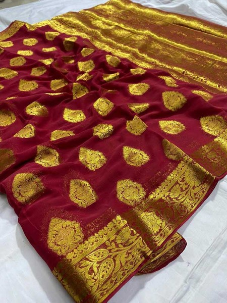 Beautiful Look Red Color  Pure Viscous Saree