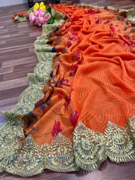 Eye-Catching Look Orange color Georgette Digital Printed Saree