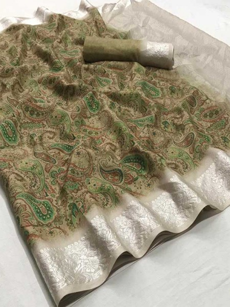 Beautiful Multi Color Soft muslin With Viscous border With Digital Print Saree