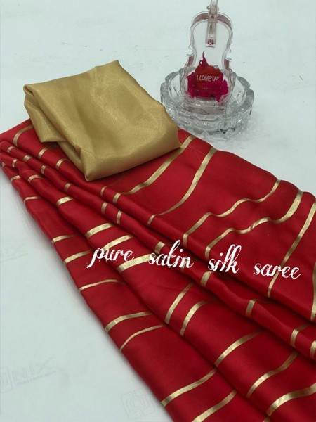 Classic Look Red Color Pure Satin Silk With Floral Print Saree