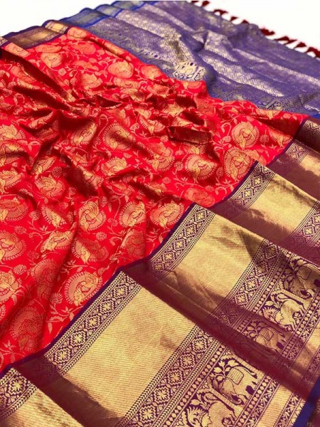 Pretty Look Banarasi Silk Fabric with Big Peacock Jari work Rich Pallu