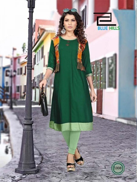 Green color Heavy Rayon Printed Kurti With Hand Work