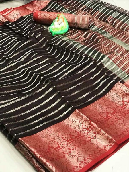 Elegance Look Brown Colored Soft Cotton Weaving Saree