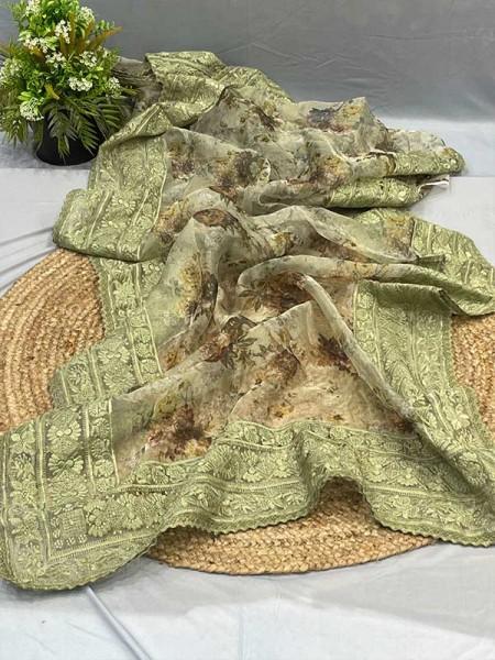 Latest Organza Silk Digital Printed Saree with chikankari work with gold zari