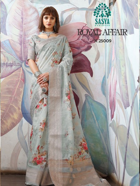 Stunning Look Grey Color Pure Cotton Printed Saree with Jacquard weaving Border