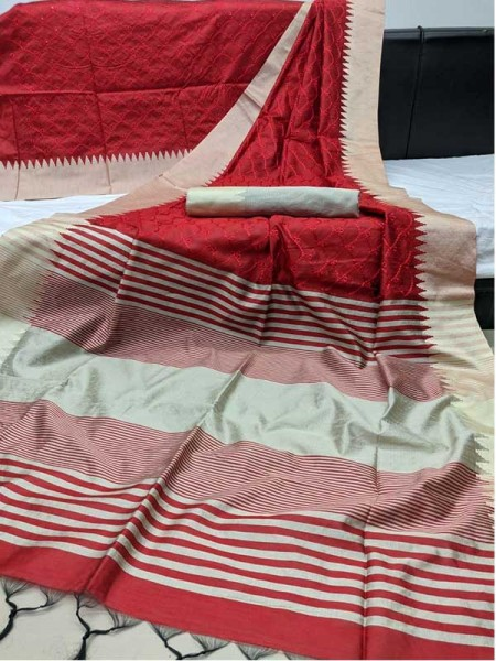 Beautiful Red Colour Handloom Raw Silk Saree With Embroidered Cut Work All Over
