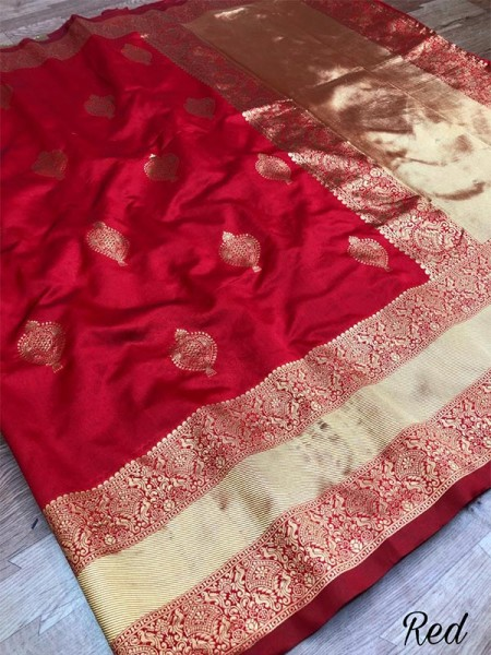 Stunning Red Color Soft Kota Silk with gold thread weaving Saree with Rich Pallu