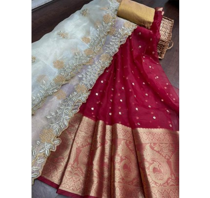 Fabulous Fancy Organza lehanga Saree with latest Sequencing embroidery border