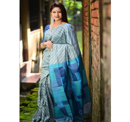 Multi color Linen Silk weaving Saree with all over silver zari woven strips
