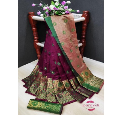 Attractive Look Multi Color Lichi Silk Weaving Saree with Double Zari