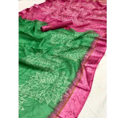 Traditional Look Green Kota Ikkat Bandhej Print Saree