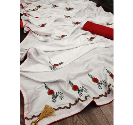 Graceful combination for Wedding Look White Sana Silk Saree hand work with piping