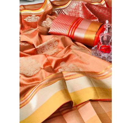 Rich Look Cream Colour Soft Banarasi Silk Weaving Work Saree