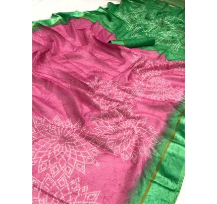 Traditional Look Pink Kota Ikkat Bandhej Print Saree