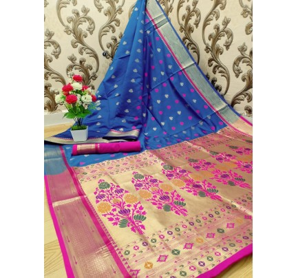 Stylish Look Blue Colour Paithani Silk Flower Design Saree