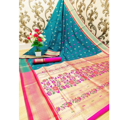Stylish Look Cyan Colour Paithani Silk Flower Design Saree
