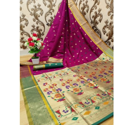 Stylish Look Purple Colour Paithani Silk Flower Design Saree