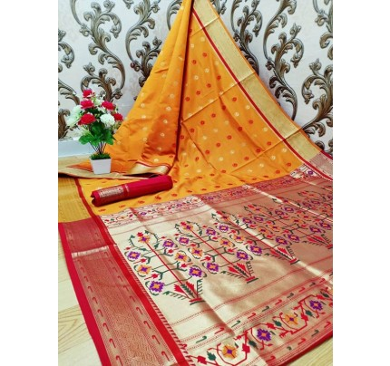 Stylish Look Orange Colour Paithani Silk Flower Design Saree