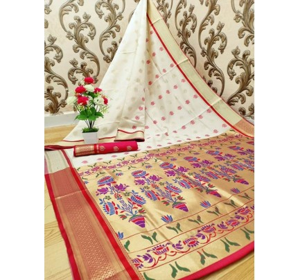 Stylish Look White Colour Paithani Silk Flower Design Saree