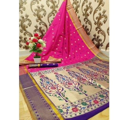 Stylish Look Pink Colour Paithani Silk Flower Design Saree