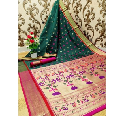 Stylish Look Green Colour Paithani Silk Flower Design Saree