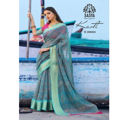 Stunning Multi Color Soft Cotton Silk Saree with weaving jacquard Border