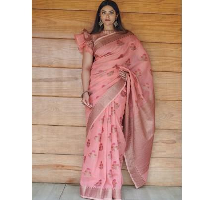 Pretty Look Linen Cotton Saree with antic Zari weaving Border & Meenakari Motifs