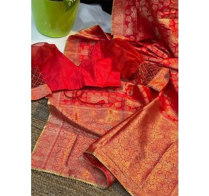 Traditional Banarasi Silk Saree with pure zari golden samosa border