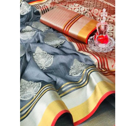 Rich Look Grey Colour Soft Banarasi Silk Weaving Work Saree