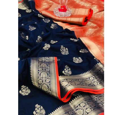 Special Edition Blue Color Soft Silk gold Zari with weaving design border