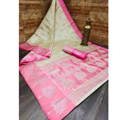 Stunning Look Banarasi Art Silk weaving Saree with Satin woven Border