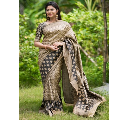 Stylish Look Multi Colour Tassar Silk Weaving Saree with contrast resham woven border