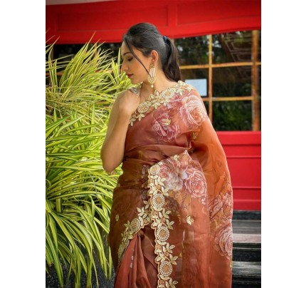 Celebrity Style Organza embroidery Saree with hand stone work & embroidery