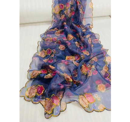 Finnest Look Pure Organza Printed Saree with Sequence work