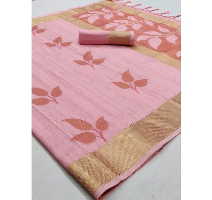 Pretty Look Peach Color Soft Handloom Weaving Silk Saree With Tassels