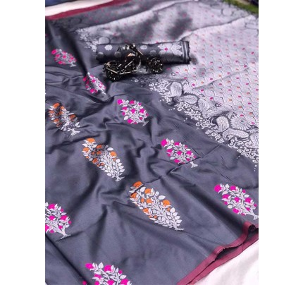Graceful combination Grey Color Lichi Silk weaving Jacquard Saree