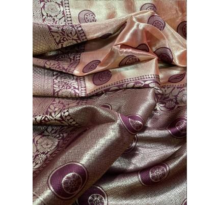 Superb Trending Organza weaving Saree with silver Kanchi border